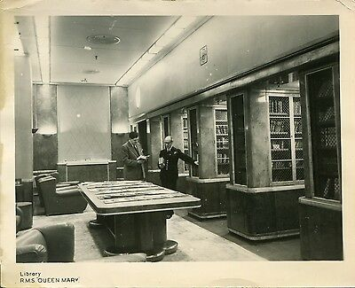 """RMS QUEEN MARY """"Library"""".  Original vintage Ship's Photo.   Cunard-White Star"""