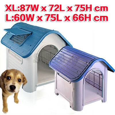 2 Sizes Extra Large Solid Hard Plastic Pet Dog House Kennel Weather Resistant
