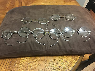 Vintage Lot Of (5) Eyeglasses Spectacles Gold And Silver Rimmed Nice Look!!