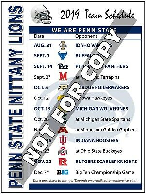 Penn State Football Schedule 2019 2019 PENN STATE Nittany Lions Football Schedule Mag  (High