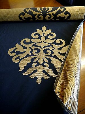 Fabulous Gold And Black Upholstery Brocade - 7.2 Metres - Stored But Never Used