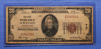 $20 The First National Bank Note of SCANTON, PA. 1929 Ch#77