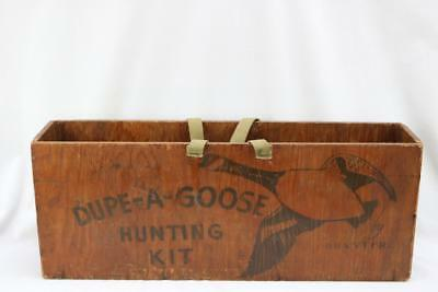 Vintage Rustic Dupe-A-Goose Hunting Kit Wooden Storage Box W/ Handles