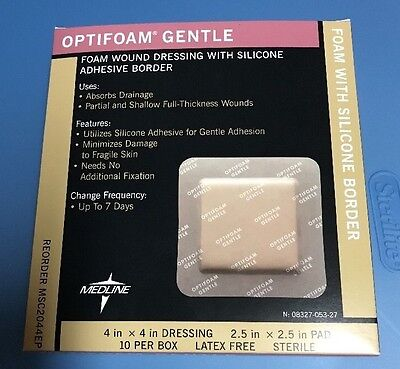 """Medline Optifoam Gentle Dressing - 4"""" x 4"""" box of 10 with silicone border"""
