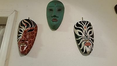 Lot Of Three Vintage Wooden Indonesian Mask