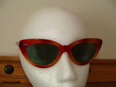 Vintage Tortoise Lucite Cat-Eye Frame Sunglasses - Green Lenses - Uv400 - Euc