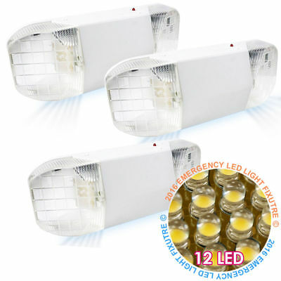 3 x ALL LED Emergency Exit Light - 12LED 2Head Safety Lighting ETL Listed US