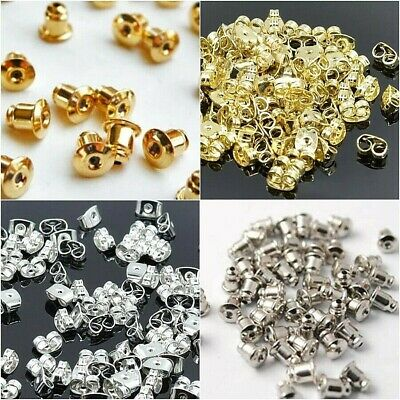 20/60/100x Stud Earring Backs BULLET/BUTTERFLY Gold Silver Findings Replacement