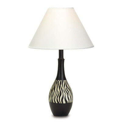 Black White Stripe Table Lamp Zebra Print Africa Safari