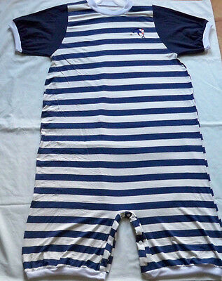"ADULT 44"" Jersey Knit, Navy Striped Romper,  By  KT"