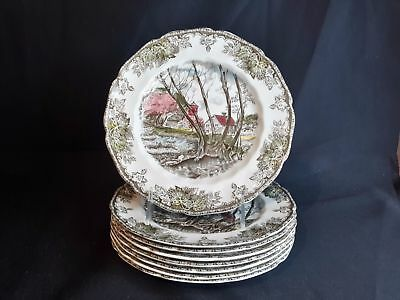 Johnson Brothers Friendly Village Willow By The Brook  8 Round Salad Plates
