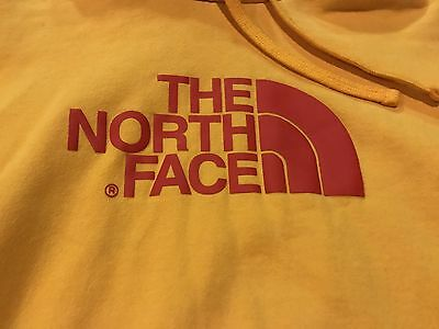 NORTH FACE hoodie - Men's L   YELLOW large Red Logo Sweatshirt PULLOVER