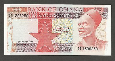 Ghana 5 Cedis 1982; UNC; P-19c, L-B120c; Old man; Men sawing log