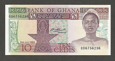 Ghana 10 Cedis 1980; UNC; P-20c, L-B121c; Fishermen with nets and boats