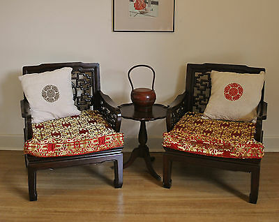 Pair of Antique Style Chinese Oriental Carved Rosewood Dragon Chairs / Armchairs