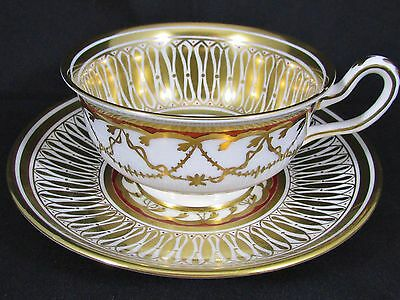 Royal Chelsea Cathedral Hand Painted Gold Tea Cup And Saucer