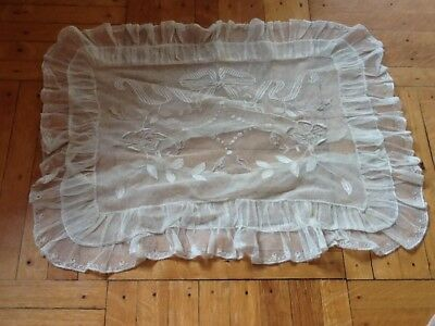 French Antique vtg  Pillow Cover Net Lace ribbon bow victorian old ruffled edge