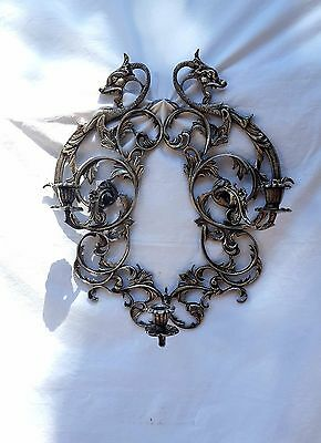 Ornate Antique Dragon Asian Inspired Scroll Silver Plate 3 Candle Sconce