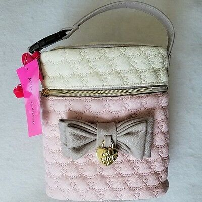 Betsey Johnson Quilted winged hearts Baby Bottle Holder Insulated Lunch Tote~NWT
