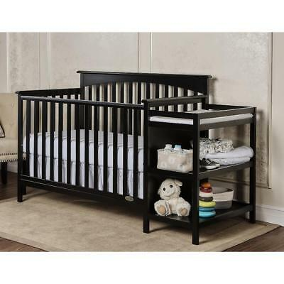 Dream On Me Chloe 4-in-1 Convertible Crib with Changer - Black