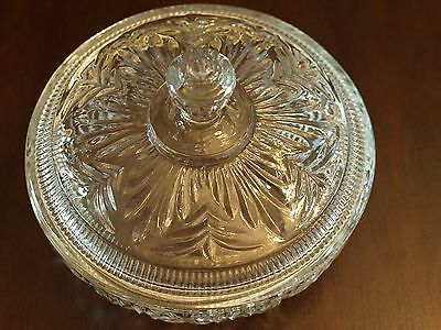 Vintage Avon Clear Glass Candy Dish Nice Pattern-D