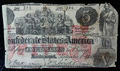T-31 Confederate Currency Contemporary Counterfeit $5 Note 1861 On Its Last Legs
