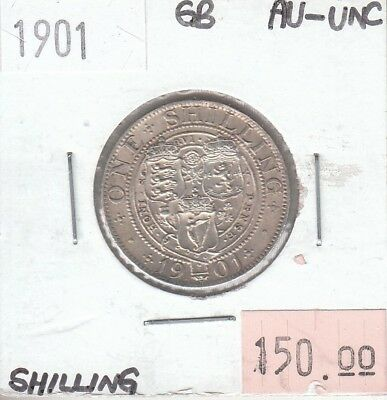 Great Britain 1 Shilling 1901 Silver AU Almost Uncirculated