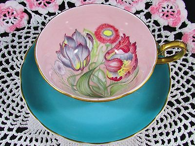 Susie Cooper Pink Art Deco Floral Turquoise Tea Cup And Saucer