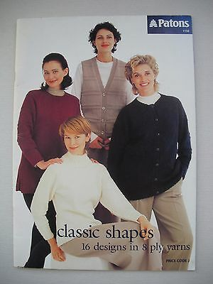 Patons Pattern Book 1158 - Classic Shapes - 8ply Womens Knitting -16 Designs