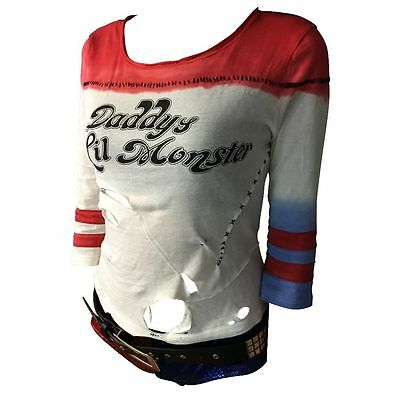 Suicide Squad Harley Quinn T-shirt Daddy's Lil Monster Cosplay Costume Top New