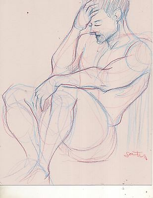 Nude Male Pencil Drawing- Original Fine Art- Direct from + Signed by Artist