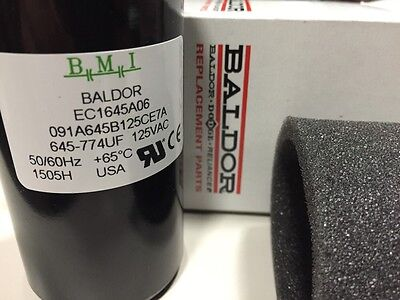 New B M I Baldor Capacitor EC1645A06, 645-774UF, 091A645B125CE7A made in the USA