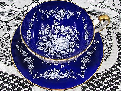 Aynsley White Enamel Rose Floral Cobalt Blue Tea Cup And Saucer