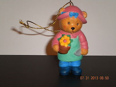 1996 AVON Hobby Teddy Bear Gardening Christmas Ornament