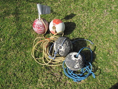 4 Vintage Foam Fishing Buoys Markers Floats w/ Rope Nautical Decor