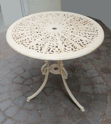 Round Wrought Iron Painted Cream Table Lot 160