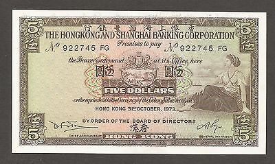 Hong Kong HSBC; 5 Dollars 1973; AU; P-181; Seated woman; Bank building