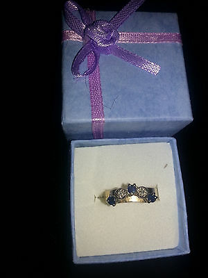 9Ct Yellow Gold 3 Sapphires And 2 Diamonds Eternity Ring