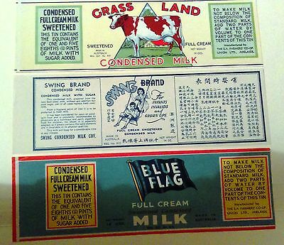 3  milk Labels - made in AUSTRALIA great graphics