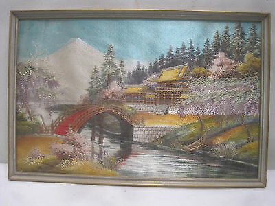 "Vintage Oriental Chinese Japanese Painting on Silk 17 3/4"" x 11 3/4"" Framed"