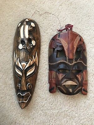 Pair Of Hand Carved Wood Tribal Masks Decoration - Handmade