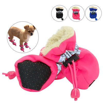 4pcs Waterproof Winter Small Dog Shoes Anti-slip Rain Snow Boots Footwear Socks