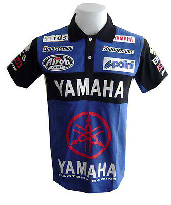 NEW MOTORCYCLE YAMAHA RACING TEAM MOTOR RAC BIKER MENS BLUE POLO Shirt Sz M,L,XL