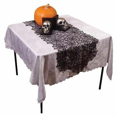 Black Spider Web Lace Halloween Tablecloth Party Decor Gothic Cob Web Tablecover