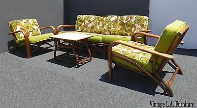 Vintage Mid Century Modern Bamboo Rattan Green Floral Sofa Two Chairs & Table