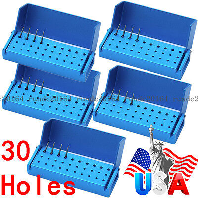5X 30 Holes Aluminium Dental Burs Holder Block Disinfection Autoclave Box 30Hole