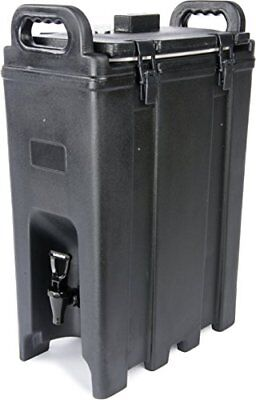 Black insulated beverage server holds up to 5 gal. of liquid and maintains