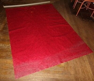 """VINTAGE MCM Chrome Chairs """"RED CRACKED ICE"""" VINYL UPHOLSTERY FABRIC-54""""X73""""~RARE"""
