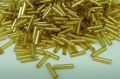 Pale Gold Rainbow 50g glass bugle beads craft jewellery approx 6mm tubes