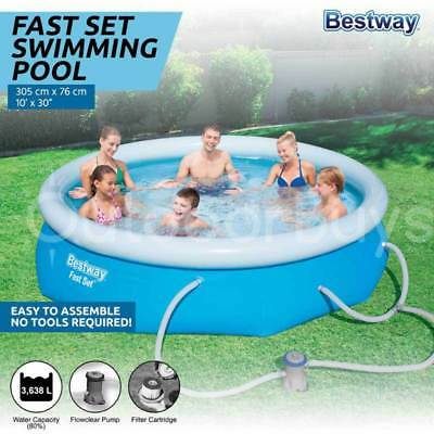 Bestway Fast Set 10ft Inflatable Swimming Pool | Filter Pump Family Pool